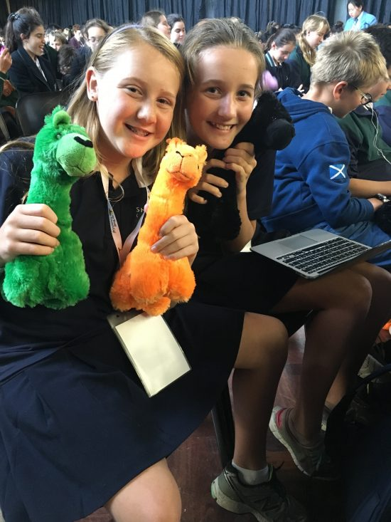 Group of students as spectators each with a soft toy on their lap