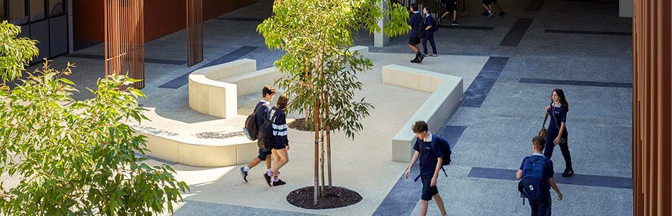 aerial view of students walking across a courtyard at Shenton College