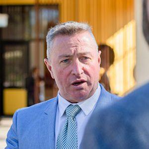 Principal Michael Morgan talking to Adam Pengelly