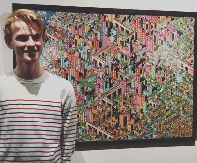 Flynn Denby Year 12 standing in front of his winning artwork